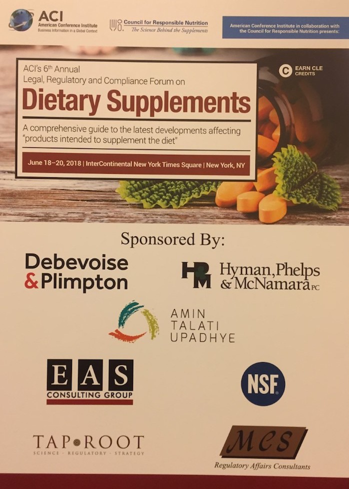 Tap Root a sponsor at the ACI Dietary Supplements convention